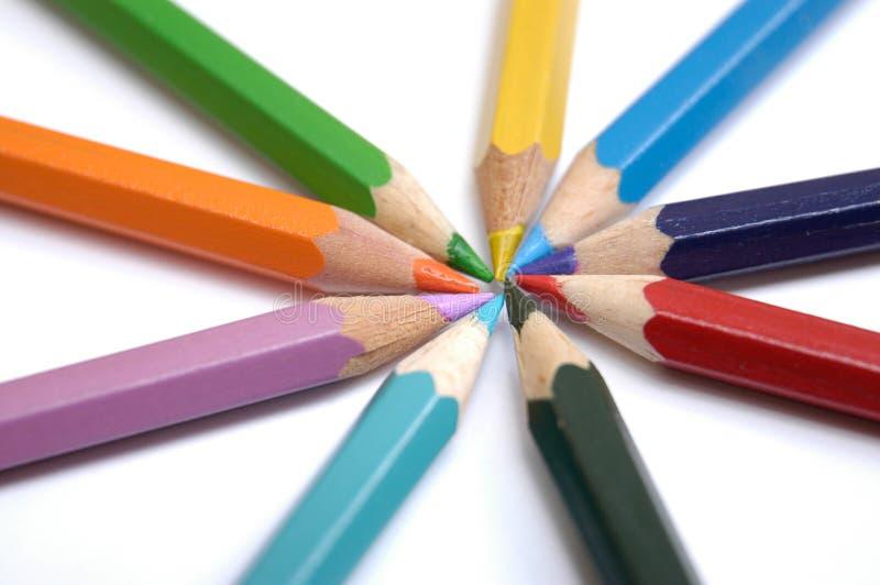 färgrika crayons vi royaltyfri fotografi