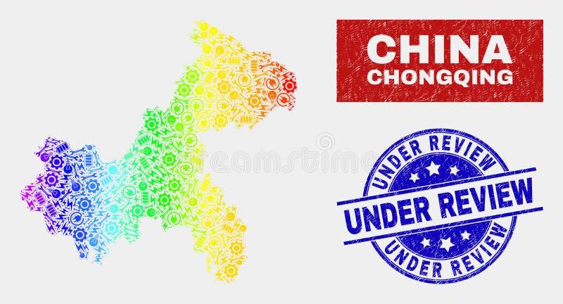 Färgrika del- Chongqing City Map och Grunge under granskningskyddsremsor royaltyfri illustrationer