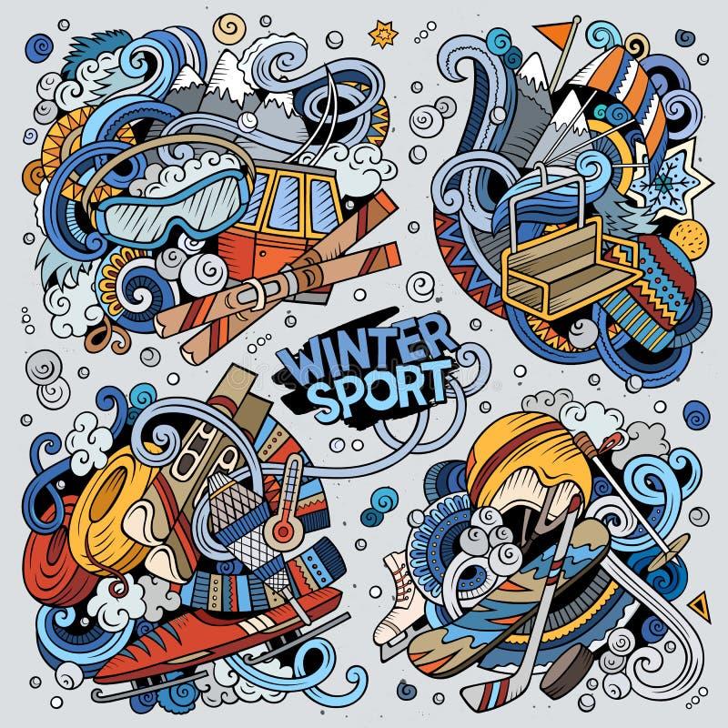 Färgrika den drog vektorhanden klottrar tecknad filmuppsättningen av kombinationer för vintersport royaltyfri illustrationer