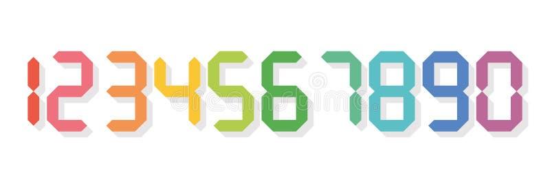 Färgrika digitala nummer Sju-segmentet skärm används i räknemaskiner, digitala klockor eller elektroniska meter vektor stock illustrationer