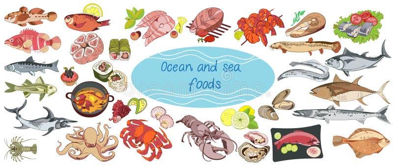 Färgrika dra Marine Food Collection stock illustrationer