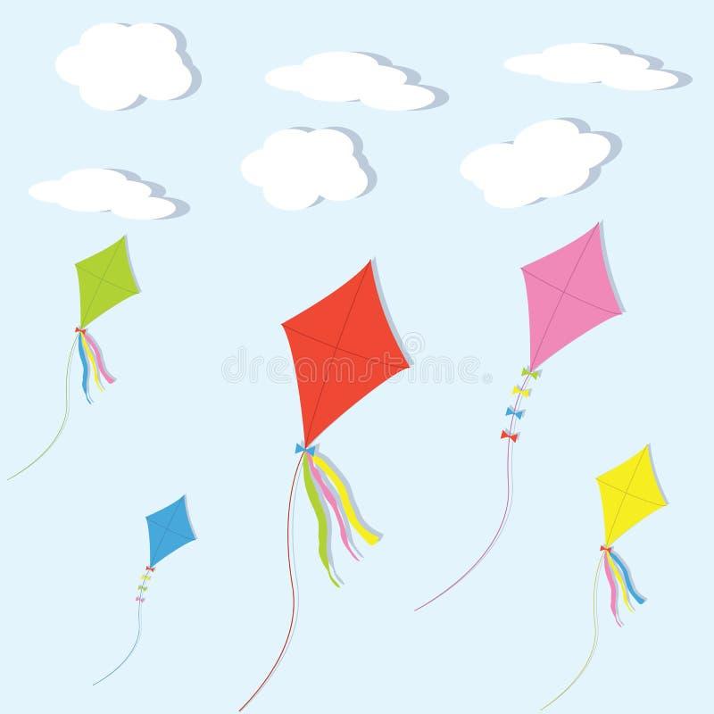 Färgrika drakar mot himlen och molnen royaltyfri illustrationer