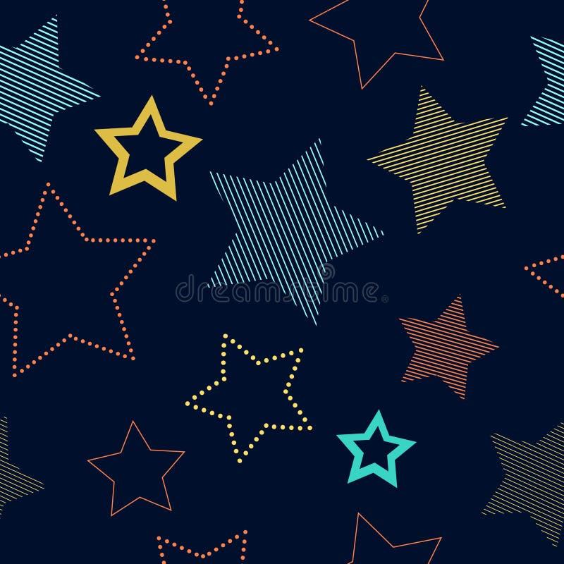 Färgrika enkla randiga och doted stjärnor på den blåa geometriska sömlösa modellen, vektor stock illustrationer