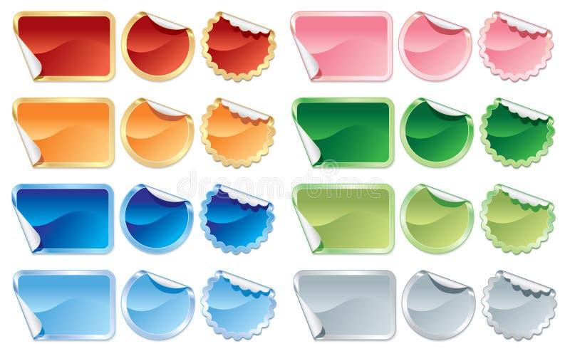 Download Färgrika etiketter vektor illustrationer. Illustration av annonsering - 27282158