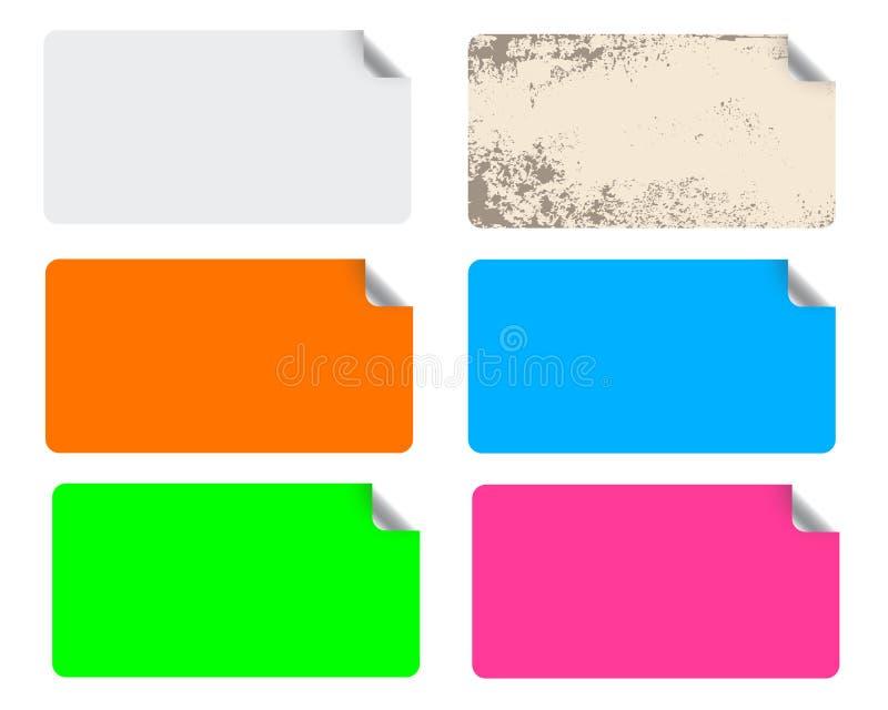 färgrika etiketter stock illustrationer