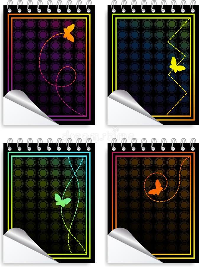 färgrika etiketter för fjäril vektor illustrationer