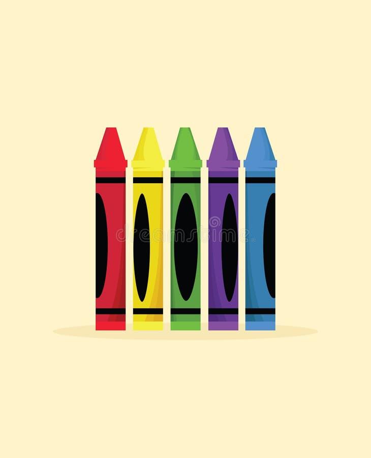 Färgrika färgpennor royaltyfri illustrationer