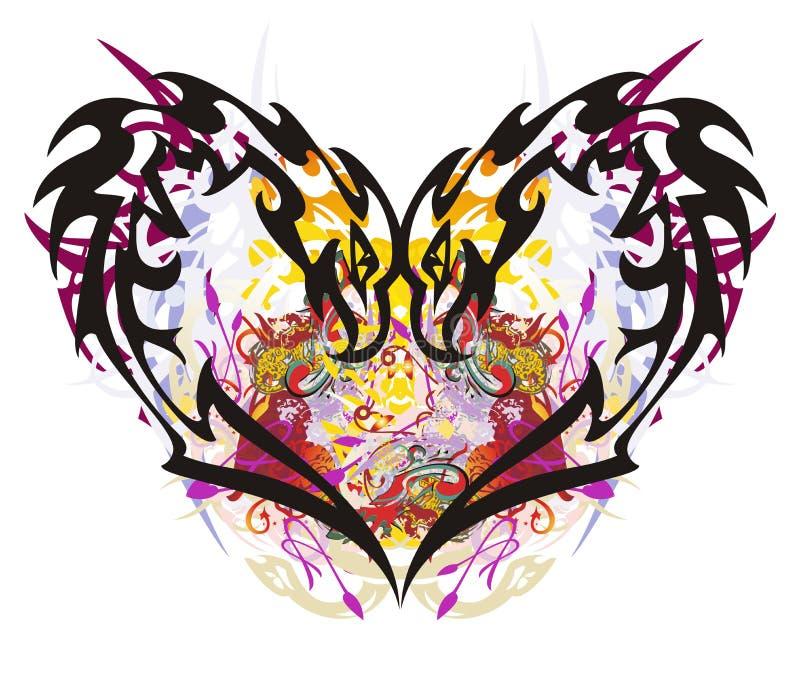 Färgrika färgstänk för ovanlig örnhjärta vektor illustrationer