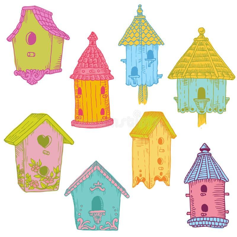 Färgrika fågelhus royaltyfri illustrationer