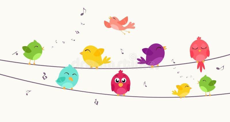 Färgrika fåglar som sitter på tråd stock illustrationer