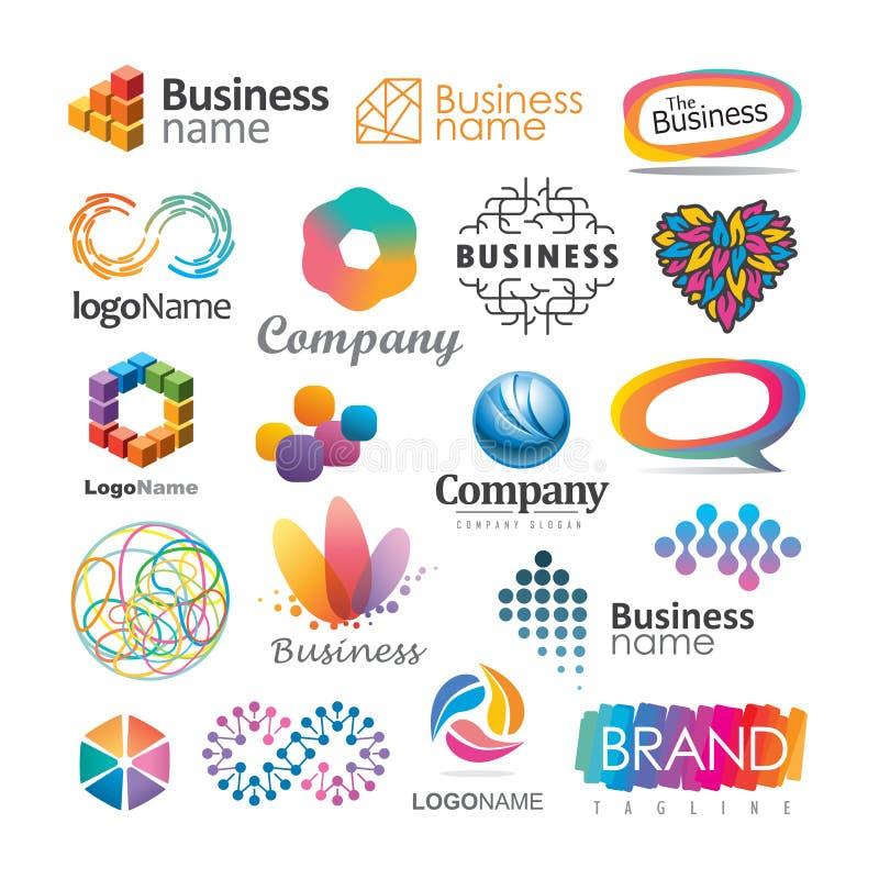 Färgrika företags- och märkeslogoer royaltyfri illustrationer