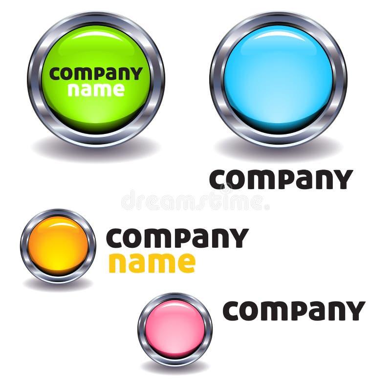 Färgrika företagsknapplogoer stock illustrationer