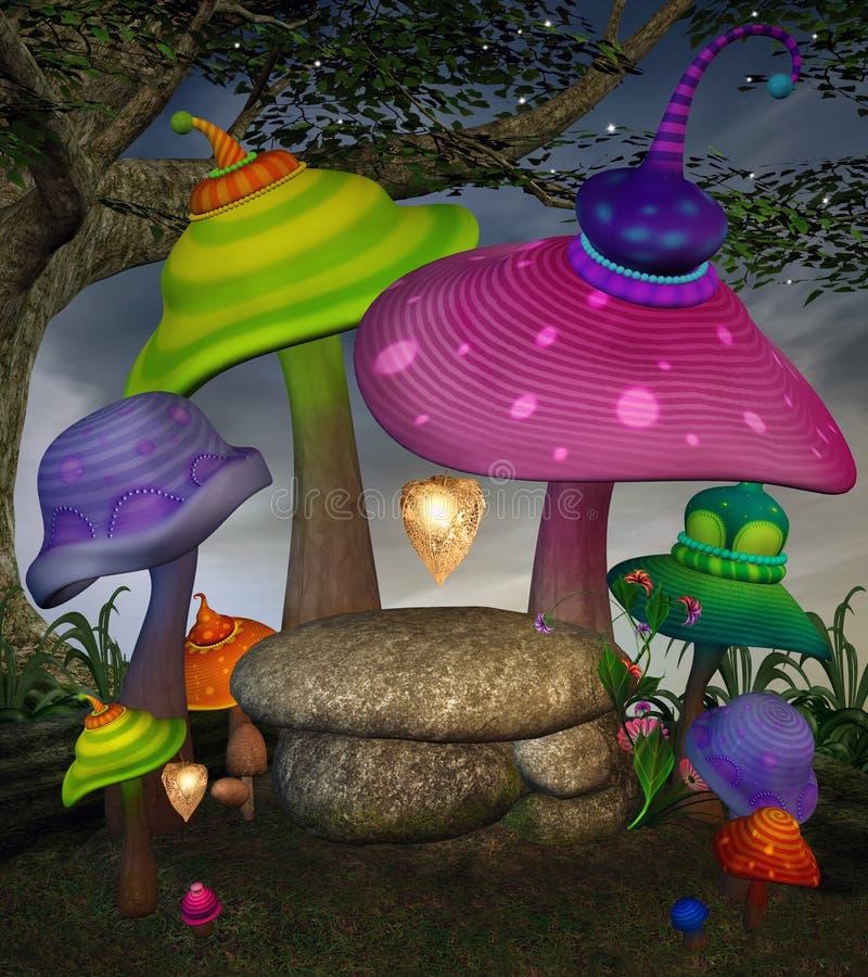 Färgrika fantasichampinjoner i den förtrollade skogen stock illustrationer