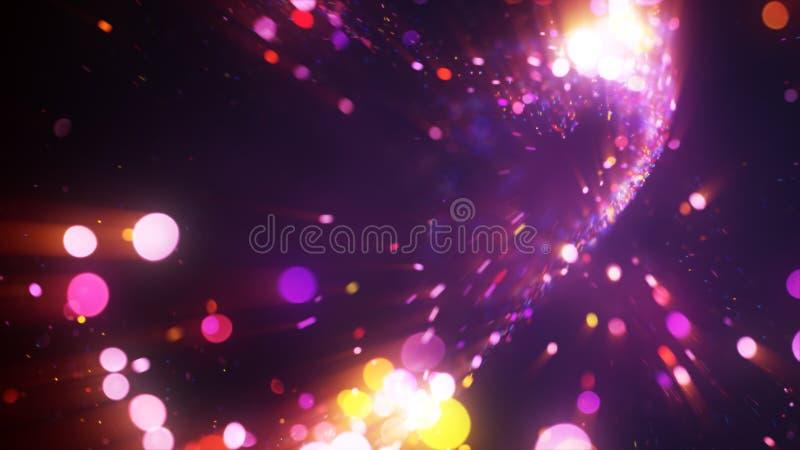 Färgrika felika partiklar som flyger ut från bristning stock illustrationer