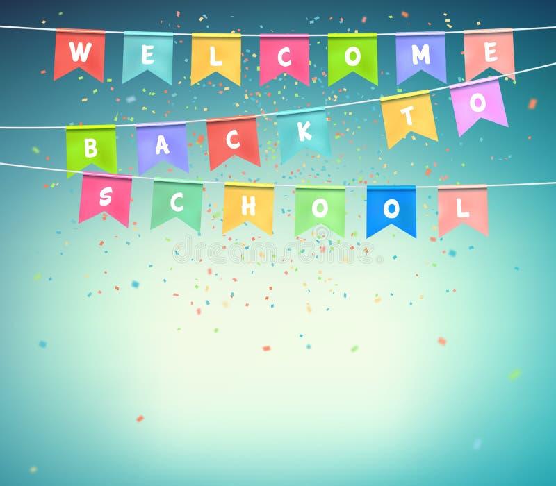 Färgrika festliga flaggor med konfettier Baner tillbaka till skolan royaltyfri illustrationer