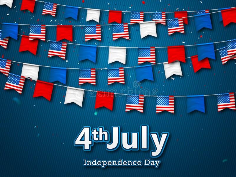 Färgrika festliga girlander av flaggor, bunting av USA standerten Vektorbaner 4th Juli, amerikansk självständighetsdagen patrioti stock illustrationer
