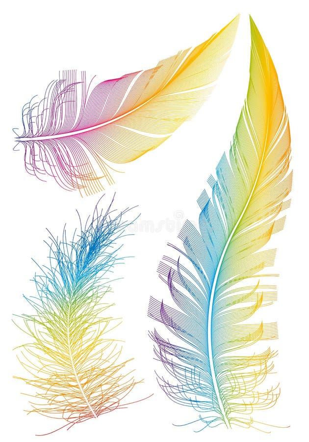 färgrika fjädrar royaltyfri illustrationer