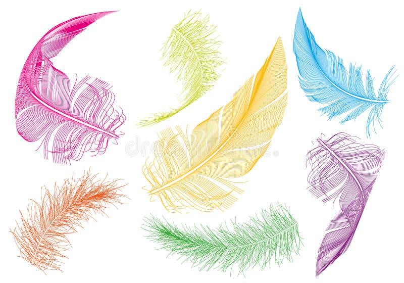 Färgrika fjädrar, vektoruppsättning royaltyfri illustrationer