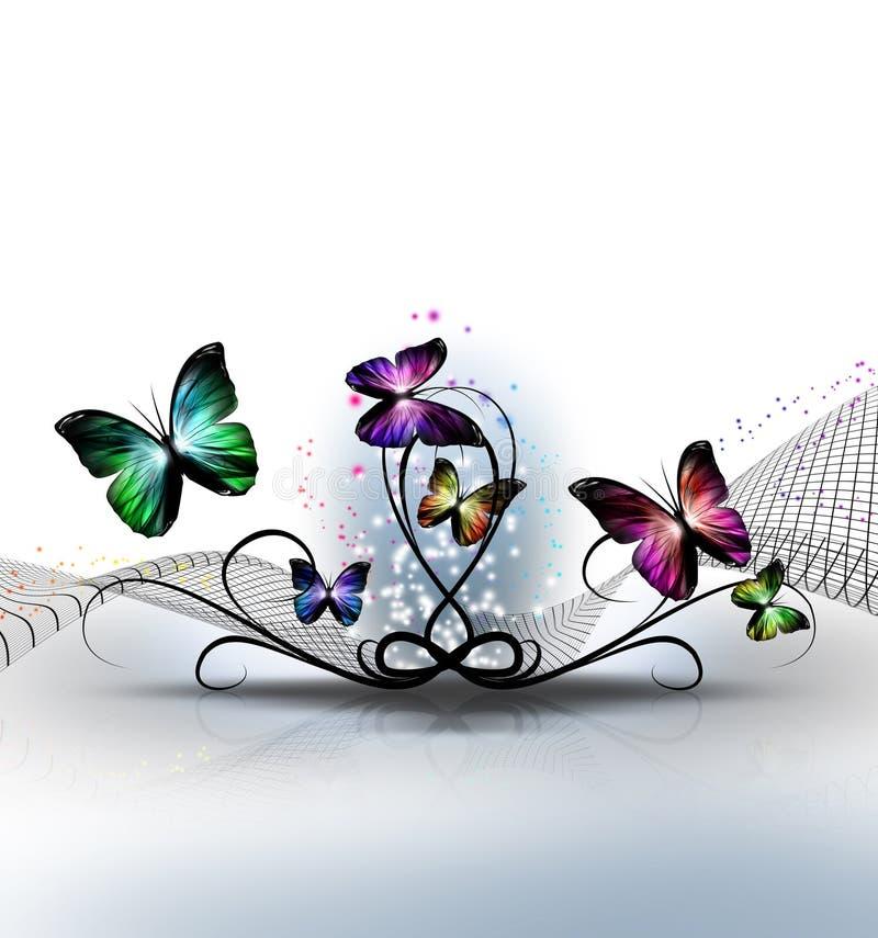 färgrika fjärilar royaltyfri illustrationer