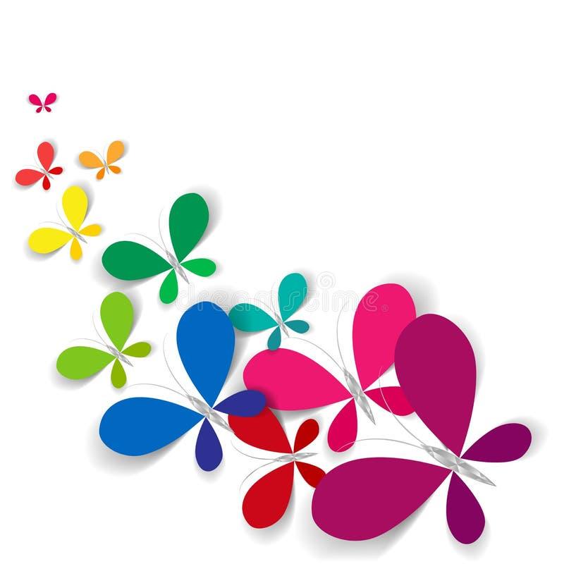 Färgrika fjärilar för vektor stock illustrationer