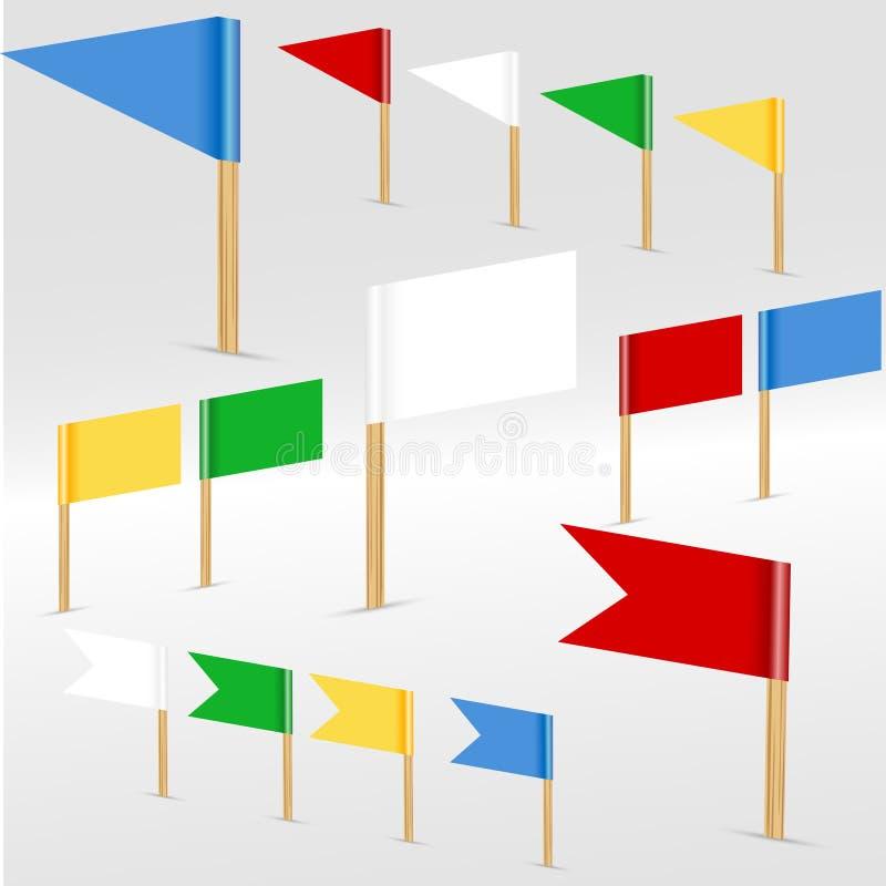 Färgrika flaggor royaltyfri illustrationer