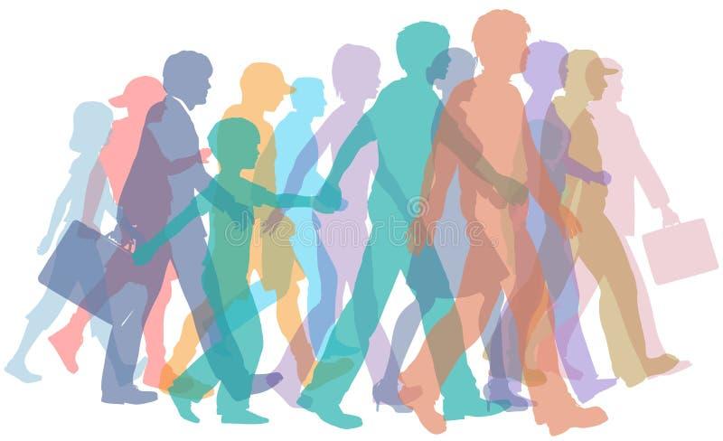 färgrika folkmassafolksilhouettes går vektor illustrationer