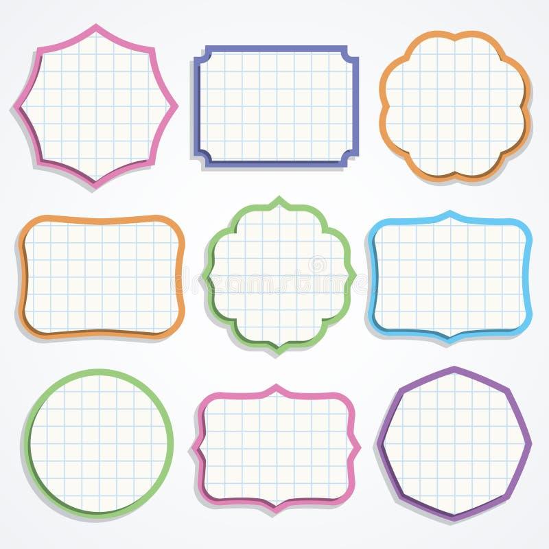 Färgrika former för anmärkningspapper. royaltyfri illustrationer