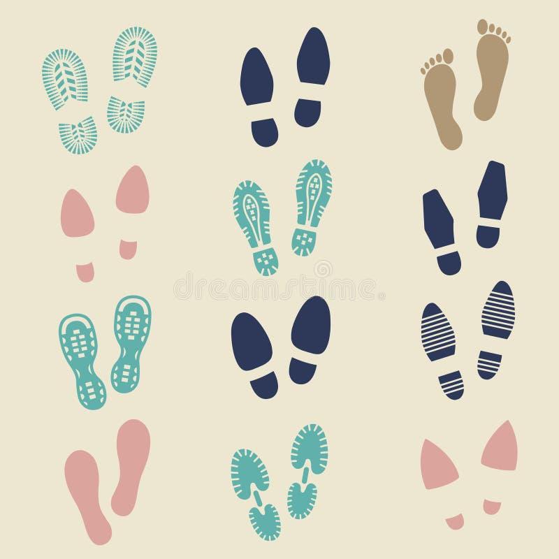 Färgrika fotspår - kvinnlig, man och sportsko stock illustrationer