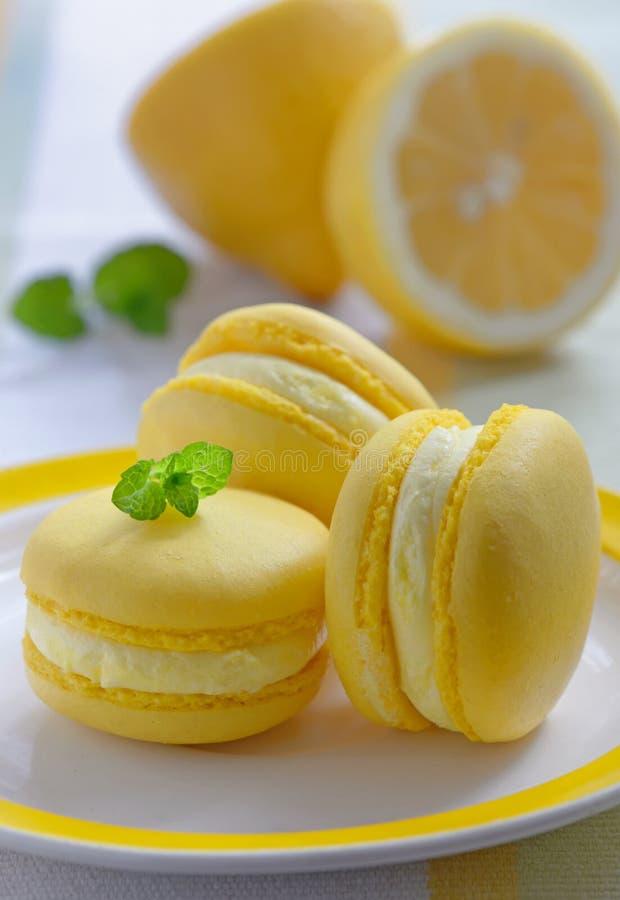 Färgrika franska macarons med citronanstrykning arkivfoto