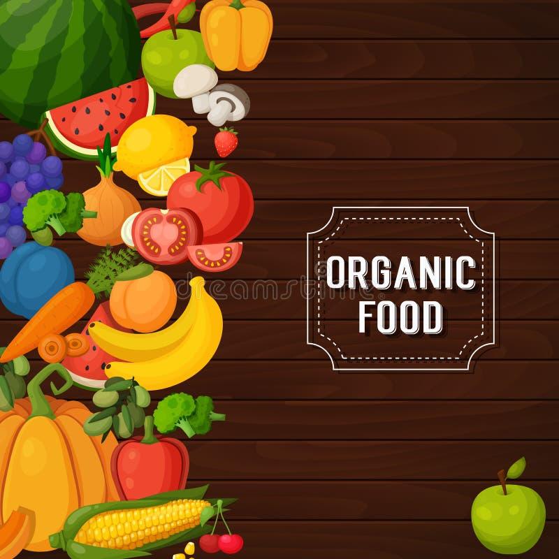 Färgrika frukt- och grönsakbaner stock illustrationer