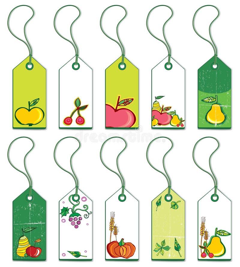 färgrika fruktetiketter stock illustrationer