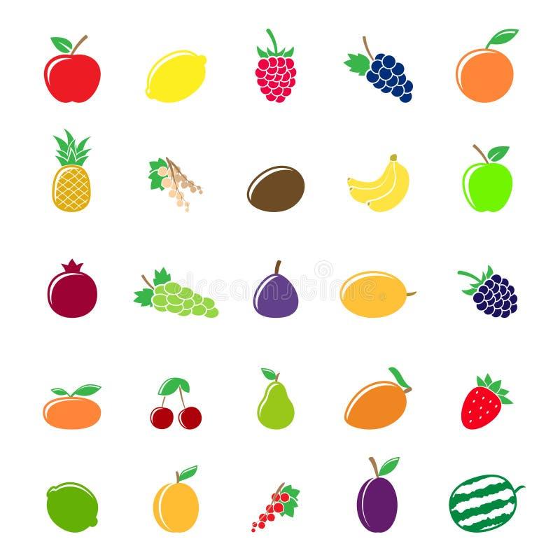 Färgrika fruktkonturer vektor illustrationer
