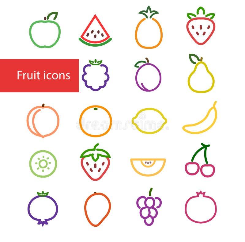 Färgrika fruktsymboler stock illustrationer