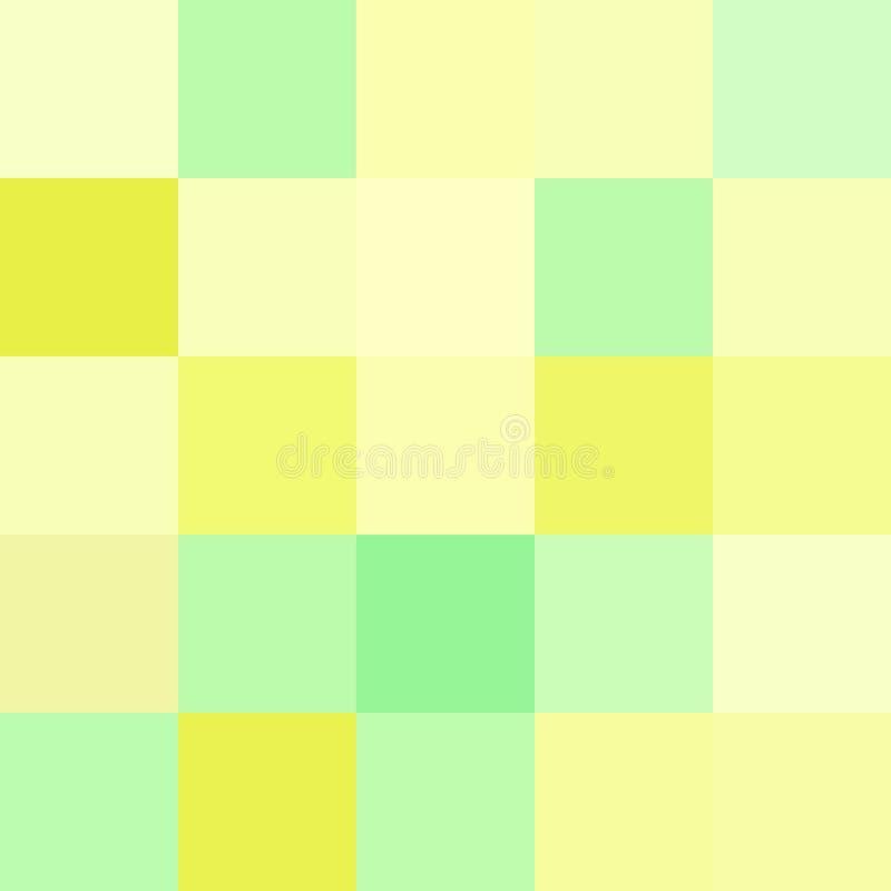 Färgrika fyrkanter färgar gul gräsplan, mjukt pastellfärgat ljust för kvarter stock illustrationer