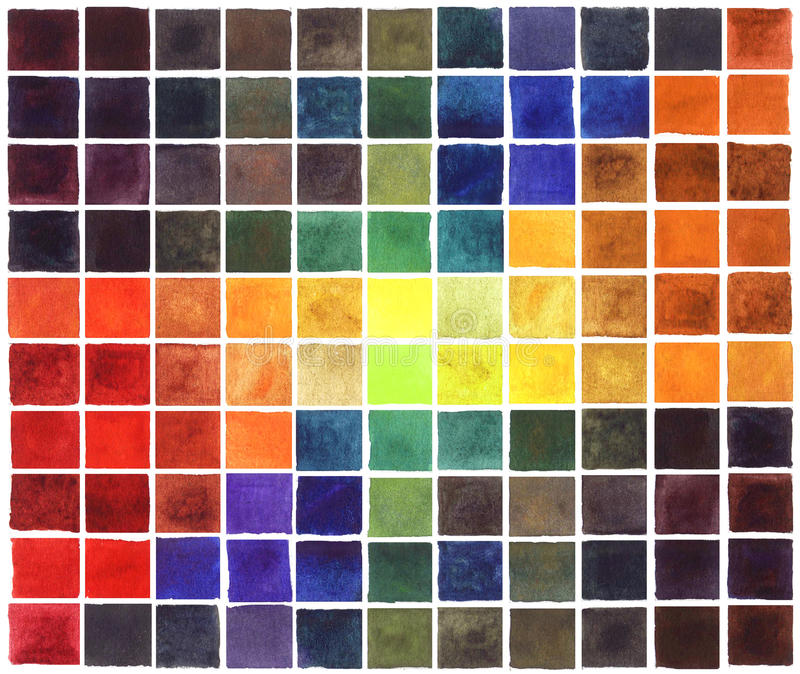 Färgrika fyrkanter för abstrakt vattenfärg vektor illustrationer