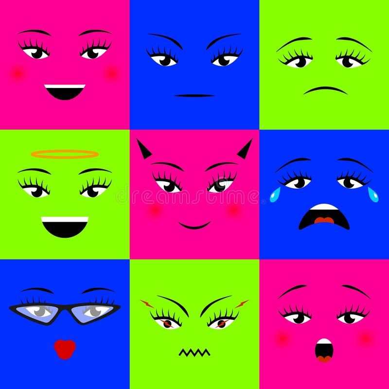 Färgrika fyrkantiga emojissymboler ställde in olika flickaframsidor också vektor för coreldrawillustration vektor illustrationer