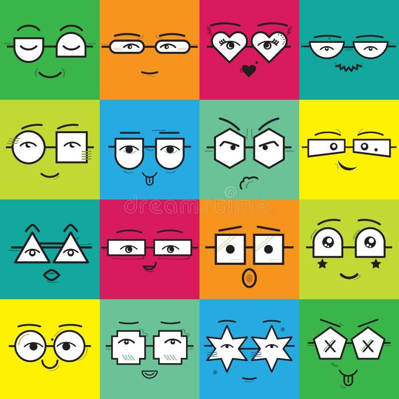 Färgrika fyrkantiga klistermärkeemoticons vänder mot med den geometriska glasögonsymbolsuppsättningen stock illustrationer