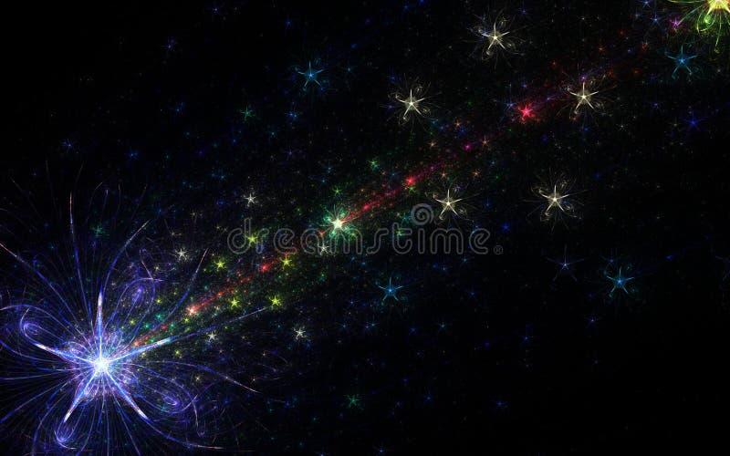 Färgrika fyrverkerier med den stora stjärnan royaltyfri illustrationer