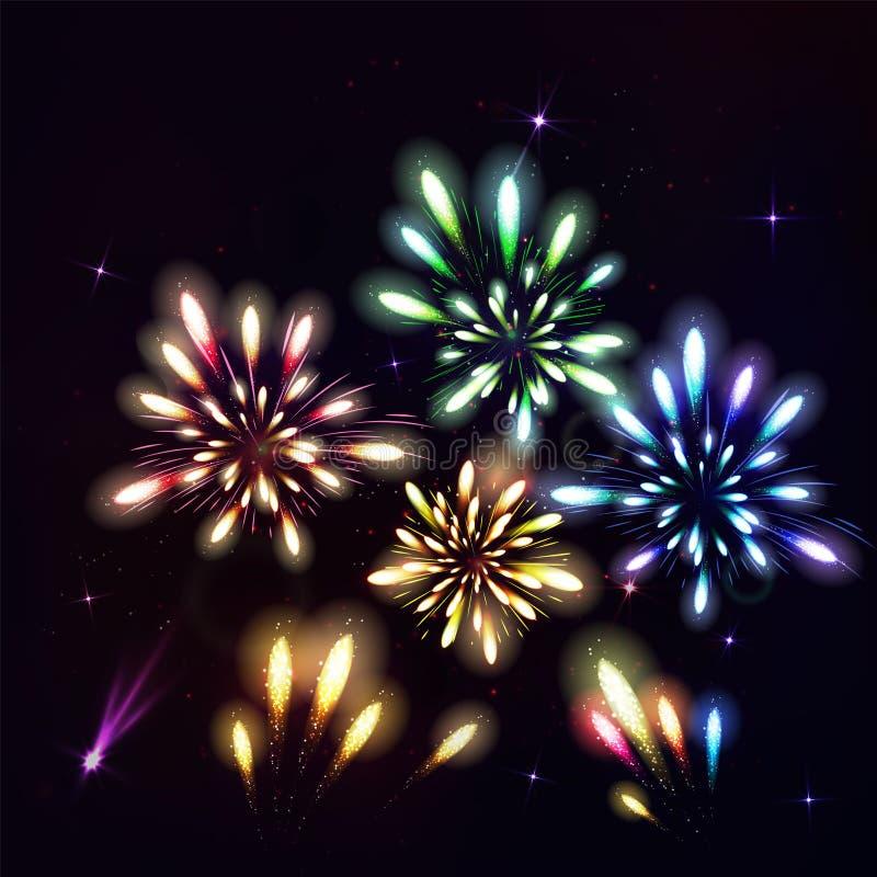Färgrika fyrverkerier på svart bakgrund Natthimmel med stjärnor och vektor illustrationer