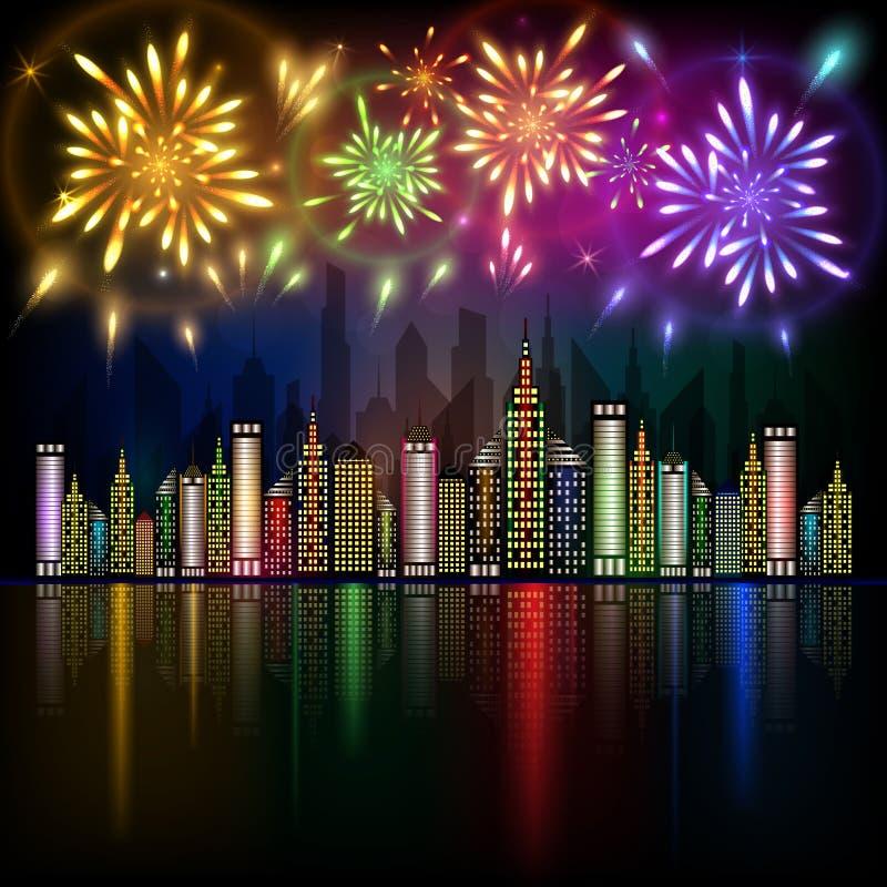 Färgrika fyrverkerier som exploderar i natthimmel över i stadens centrum stad med reflexion i vatten royaltyfri illustrationer