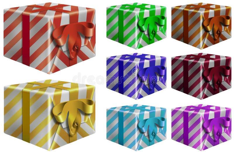 färgrika gåvapackar royaltyfri illustrationer