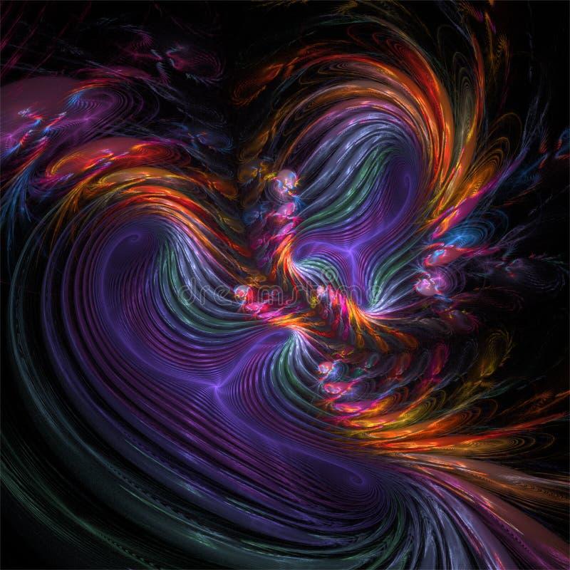 Färgrika galna kurvor för abstrakt fractalkonstfärg stock illustrationer