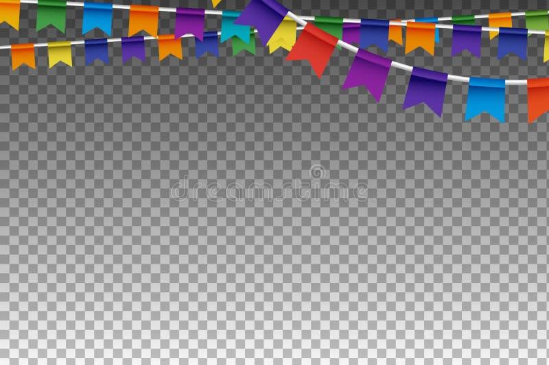 Färgrika Garland With Party Flags också vektor för coreldrawillustration royaltyfri illustrationer