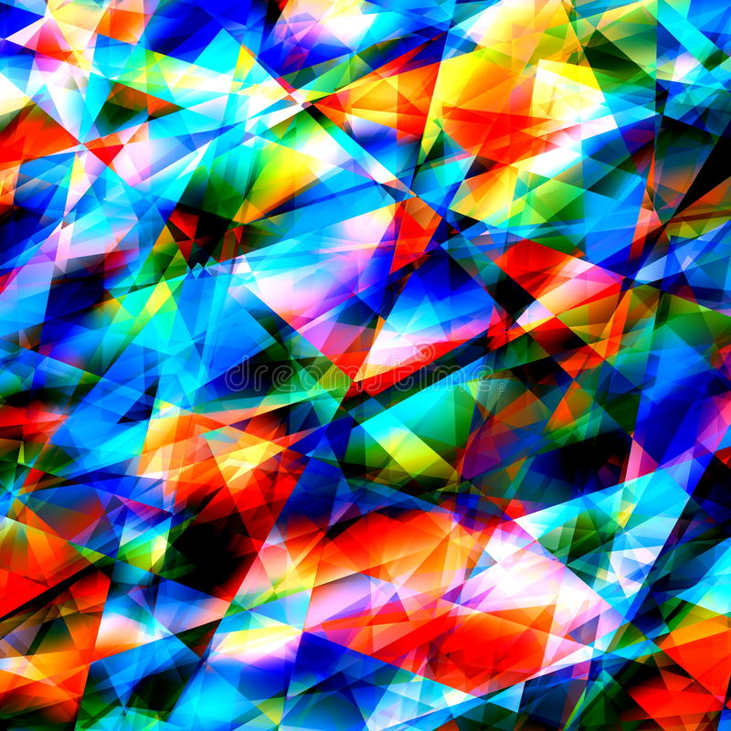 Färgrika geometriska Art Background Sprucket eller brutet exponeringsglas Modern Polygonal illustration Triangulär abstrakt model stock illustrationer