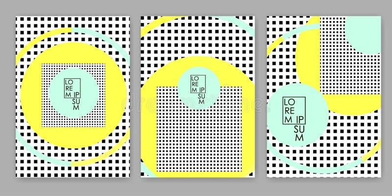 Färgrika geometriska bakgrunder Mallar för räkningen, kort, baner, affisch royaltyfri illustrationer