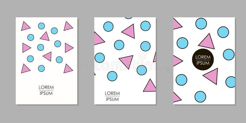 Färgrika geometriska bakgrunder Mallar för räkningen, kort, baner, affisch stock illustrationer