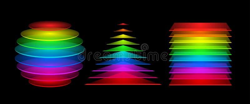 Färgrika geometriska diagram royaltyfri illustrationer