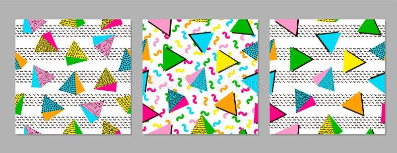 Färgrika geometriska sömlösa modeller ljusa bakgrunder 80 ` s - royaltyfri illustrationer