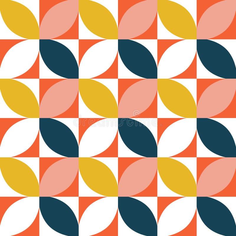 Färgrika geometriska seamless mönstrar Mitt- århundradestil vektor illustrationer