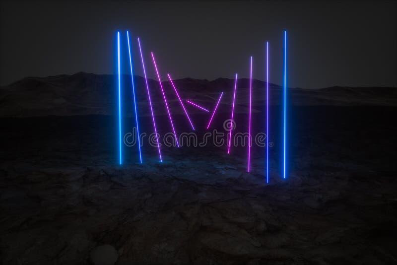 färgrika glödande linjer med mörk bergbakgrund, tolkning 3d vektor illustrationer
